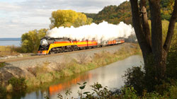 Southern Pacific 4449 on Fall Color Excursion along Mississippi River