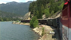 Riding in cab of BC Rail along Green Lake