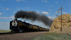 Union Pacific 844 Steam Locomotive at speed